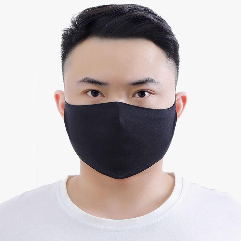 Unisex Black Cotton Mouth Mask Dustproof Sunscreen Earloop Washable Respirator