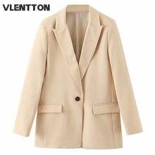 Женский блейзер с карманами vintege бежевый однотонный пиджак