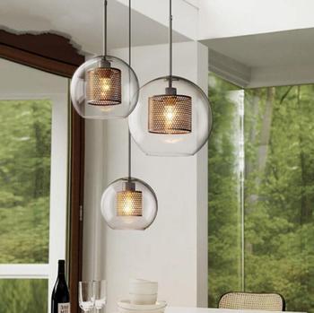 Loft RestaurantTaipeiEuropean and American Rural retro industrial stylecreative net covered glass chandelier