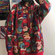 Harajuku damskie swetry swetry ponadgabarytowe bluza z nadrukiem w stylu koreańskim kaptur z kapturem damskie bluzki luźny płaszcz Streetwear ubrania tanie tanio COTTON Poliester NYLON CN (pochodzenie) Zima Bluzy REGULAR Pełna Polar hoodies 400g WOMEN Cartoon long Osób w wieku 18-35 lat