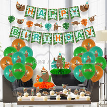 Sloth Birthday Party Balloons Decorations Happy Birthday Banner Paper Honeycomb Table Centerpieces for Baby Shower Safari Party