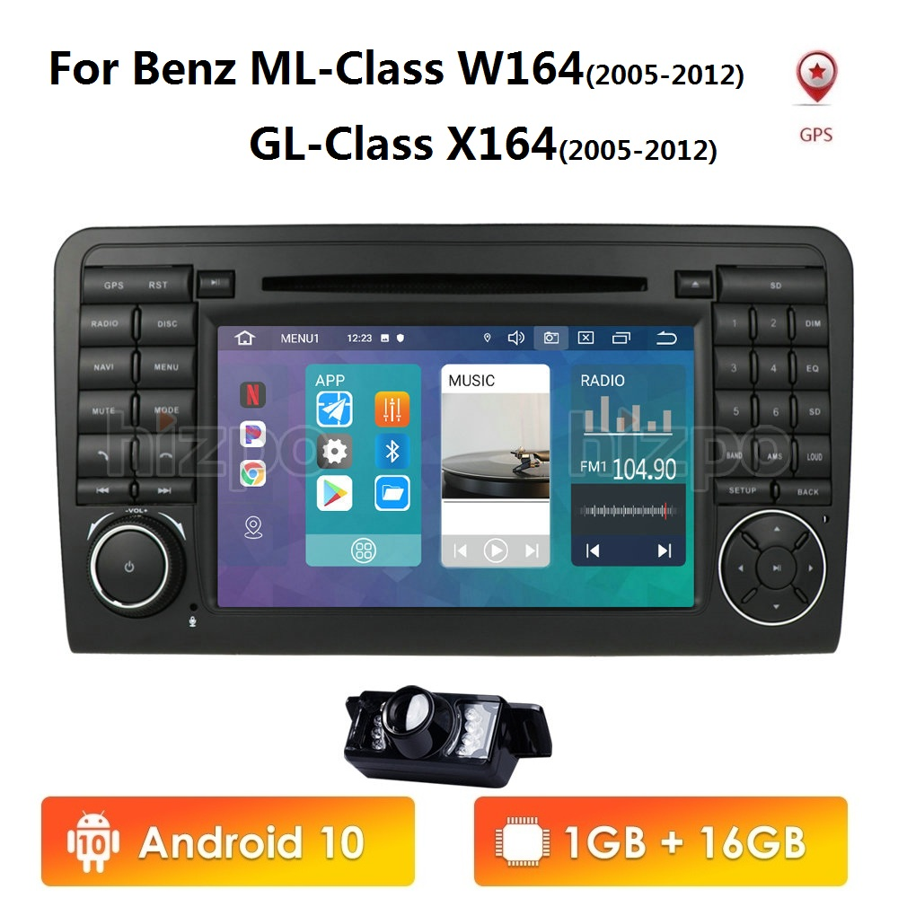 Android 10 Car DVD radio GPS For <font><b>Mercedes</b></font> Benz GL <font><b>ML</b></font> CLASS <font><b>W164</b></font> X164 ML300 <font><b>350</b></font> 450 GL320 USB Steel wheel control DVR Free Camera image