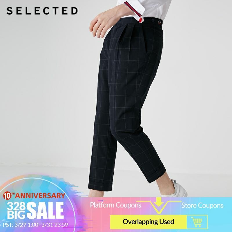 SELECTED Men's Cotton Regular Fit Slightly Stretch Plaid Pants S|419114537