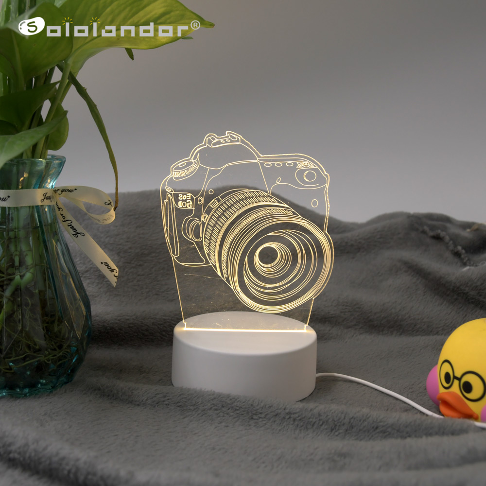 3D Festival USB Acrylic Night Light Pendant LED Table Desk Bedroom Decor Desktop Lamps Gift Warm White Lamp Christmas New Year