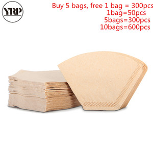YRP 50Pcs/Bag Wooden Original Hand Drip Paper Coffee V60 Fan-shaped Filter espresso Coffee filters Packs Tea Bag Strainer Filter(China)