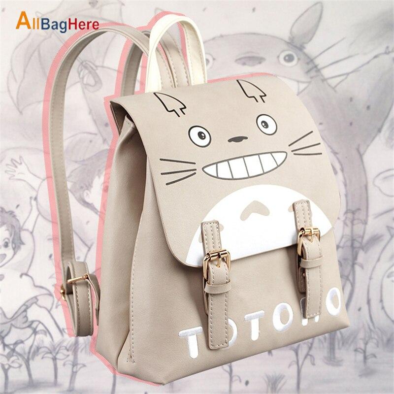 Mochila de dibujos animados para mujer Japón Anime mi vecino Totoro bolso de diseñador para niñas Casual impermeable calidad de viaje PU mochila escolar