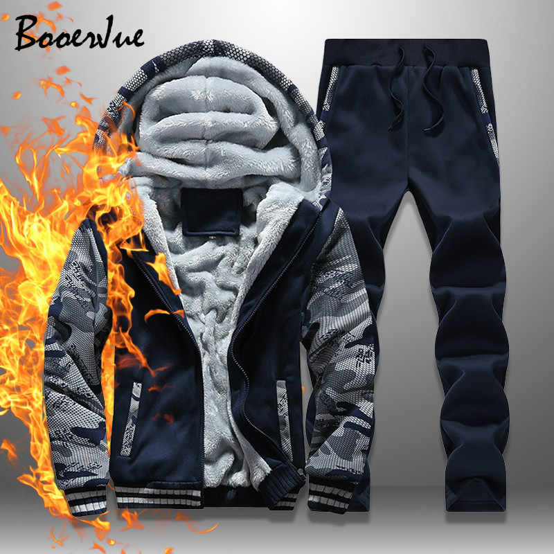 Fleece Winter Tracksuit Men Set Streetwear Mens Hoodie Sets Camouflage Thick Hooded Jacket Male Patchwork Moleton Masculino 2020