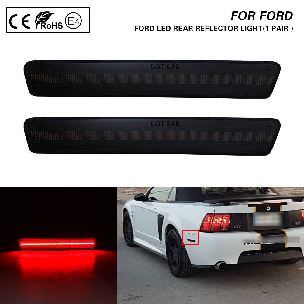 For Ford Mustang 99-04 Smoked Lens Red Light LED Rear Bumper Reflector Side Marker Light 2X