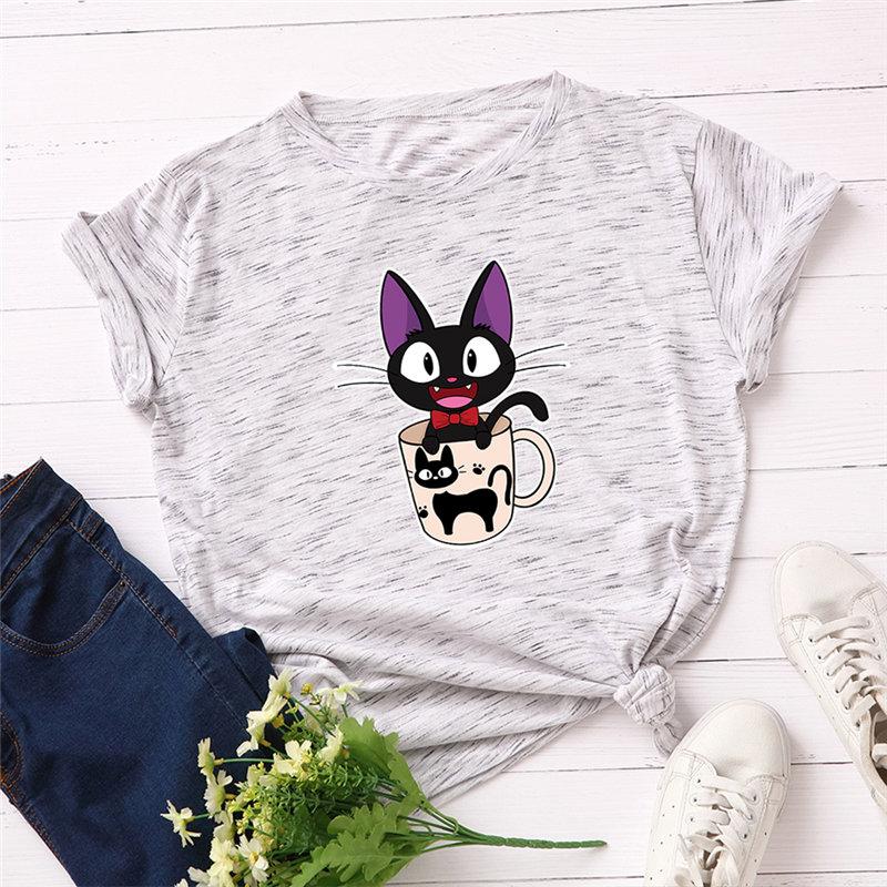 Fashion 100% Cotton Female T-shirt Short Sleeve Plus Size Women T Shirt Cat Printing Vintage Tops Harajuku Tee Tshirt Femme