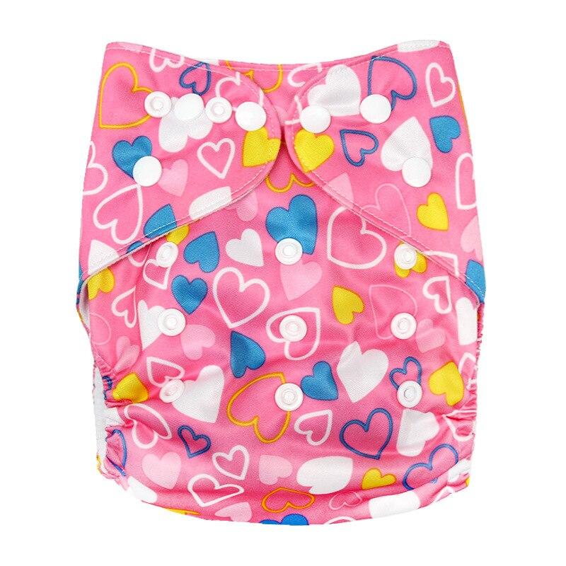 Детские моющиеся многоразовые подгузники из настоящей ткани с карманом, подгузники, чехлы для подгузников, костюмы для новорожденных и горшков, один размер, подгузники с героями мультфильмов - Цвет: Heart