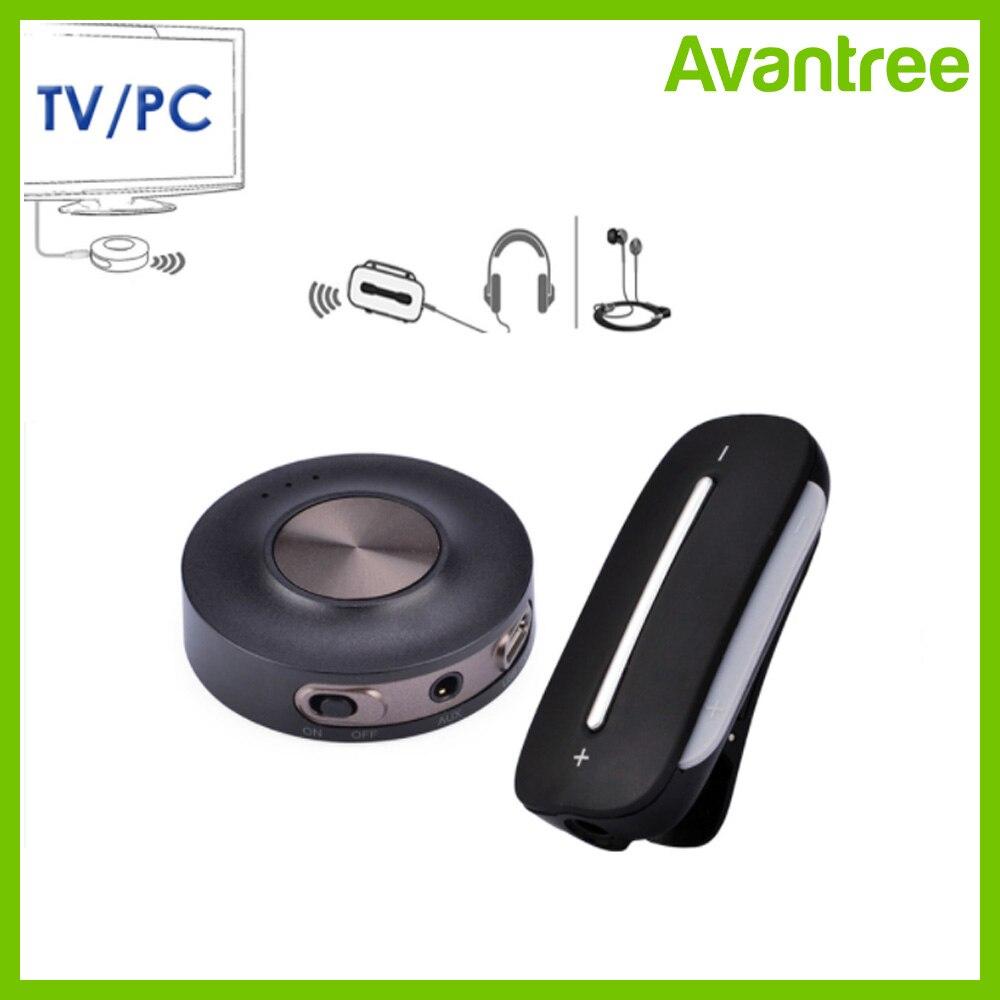 T/él/éphone PC Prise Jack 3,5 mm Casque Double Liaison Transmetteur et R/écepteur Bluetooth 4.2 Avec aptX Faible Latence Contr/ôle de Volume Haut-parleurs Adaptateur Audio 2 en 1 Bluetooth pour TV