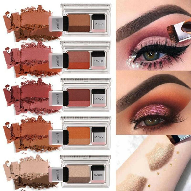 2019 New Upgraded Lazy Eyeshadow Double Gradient Shimmer Eyeshadow Palette Lasting Natural Waterproof Female Makeup TSLM2