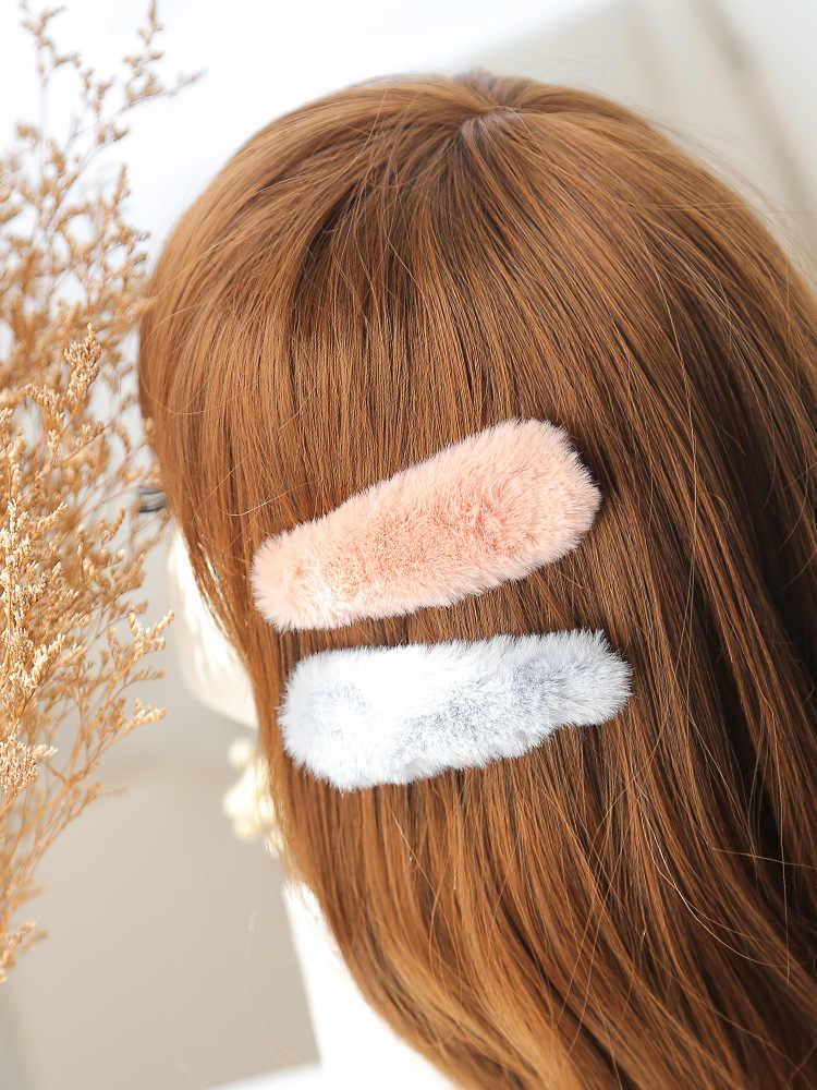 Nowe wypchane wody kroplówki klips do włosów do włosów BB klip kolor grzywka klip top włosów klip różowy barrette boże narodzenie futro z pałąkiem na głowę 2019 Faux