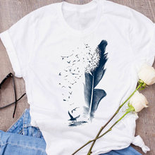 Women Graphic Feather Bird Style Tumblr 90s Short Sleeve 90s Print Clothes Lady Tees Tops Female T Shirt Womens T-Shirt