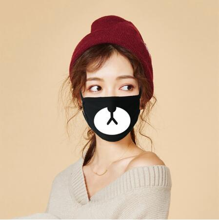 Men Women Kpop Mask Winter Mask Cute Teeth Smile Bear Mask Party Cotton Cool Travel Mask Decorative Black Props 1