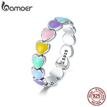 Heart-Finger-Rings Jewelry Stackable Rainbow Anel Wedding 925-Sterling-Silver Authentic