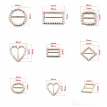 New Arrival White Ivory Pearl Ribbon Buckles Hair Accessories Metal Slider Invitations Decoration For Wedding Card Accessories(China)