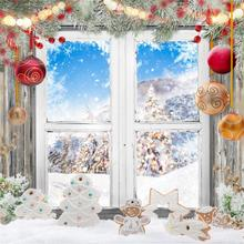 Laeacco Merry Christmas Festivals Gift Snowman Pine Window Sill Party Baby Portrait Photo Backgrounds Photography Backdrops