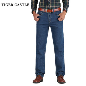 Image 1 - 2019 גברים כותנה ישר קלאסי ג ינס אביב סתיו זכר ג ינס מכנסיים סרבל מעצב גברים ג ינס באיכות גבוהה גודל 28 46