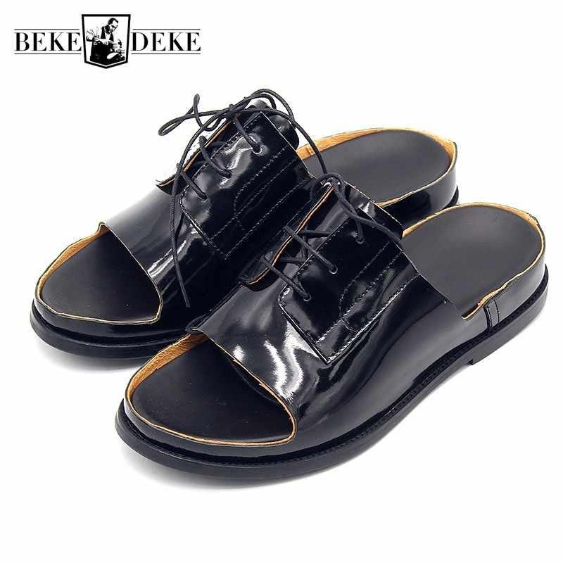2020 del Cuoio Genuino Della Mucca Open Toe Pantofole Nero Sandali Degli Uomini di Estate Lace Up Appartamenti Outdoor Antiscivolo Sandali di Vibrazione Della Spiaggia Infradito grande Formato