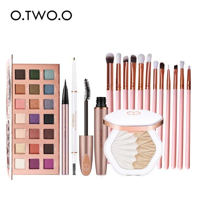 $ US $36.00 O.TWO.O 17pcs Eyes Makeup Set With 21 Color Eyeshadow Palette Waterproof Eyeliner Mascara Eyebrow Pencil Highlighter Brushes Kit
