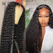 Wigirl бразильские водно-вьющиеся человеческие волосы парики 13х4 свободные глубокие волнистые кружевные парики 28 30 дюймов глубокая волна Круж...