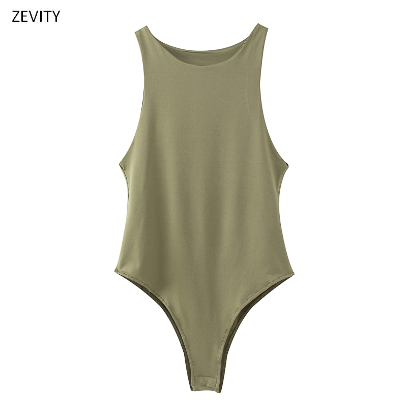 New 2020 Women Sexy Sleeveless Solid Color Slim Bodysuits Female Chic O Neck Soft Blouse Brand Office Wear Playsuits Tops LS6718