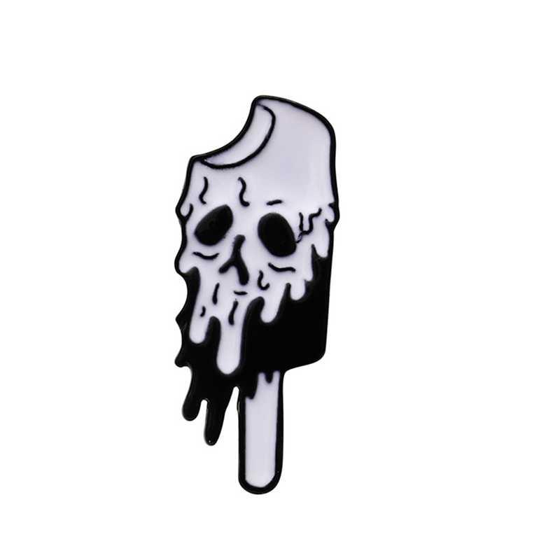 Del fumetto Punk Melting Ice Cream Skull Spille Per Le Donne Creativo Del Cranio di Scheletro Smalto Spille Gioielli Zaino Accessori Del Sacchetto