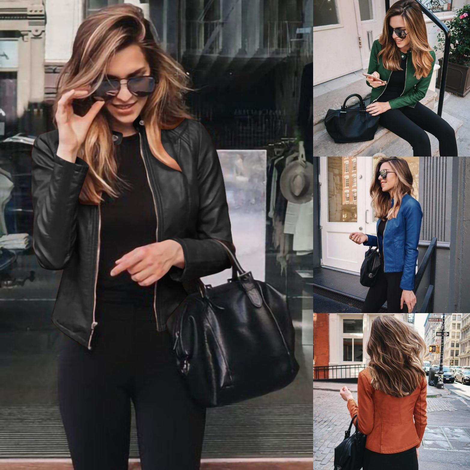 H6cc9cd935df742f7b835ea06549f9bceG 2021 Women Winter Coat Jacket Thicken Fashion Long sleeve Outwear PU Leather Jacket warm Coats For Women Autumn Women's Clothing