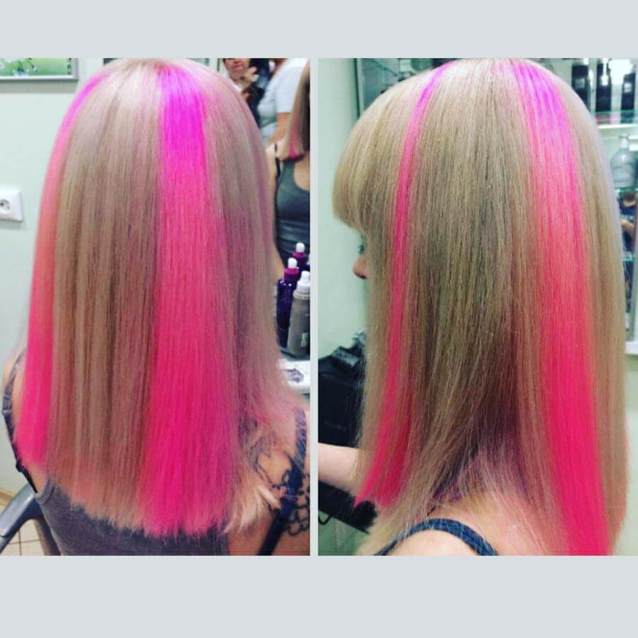 Aisi Kecantikan Tunggal Klip Dalam Satu Potongan Rambut Ekstensi Warna Pelangi Sintetis Lurus Panjang Ombre Pink Abu-abu Hairpieces untuk Wanita
