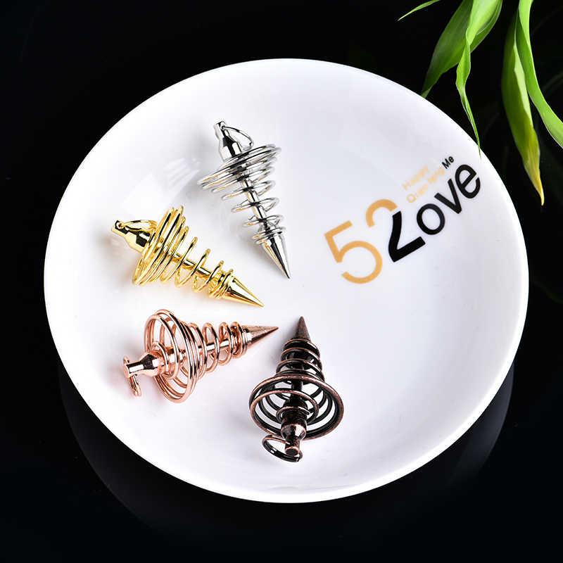 1PC Tembaga Antik Warna Emas dan Perak Lonceng Angin Pendulum Logam Spiral Cone Piramida Pendulum Dekorasi Rumah Aura Perhiasan