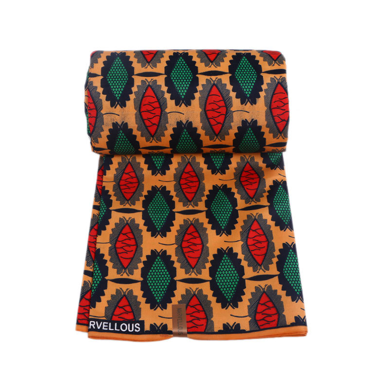 2019 Latest Dutch Wax Fabric Fashion Red And Green Print African Ankara Guaranteed Wax Printed Fabric 6Yards\set