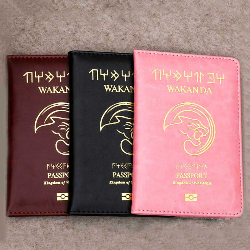 Fahion Wakanda Travel Accessories Gold Stamp Leopard Passport Holder PU Leather Travel Passport Cover Case Card ID Holders