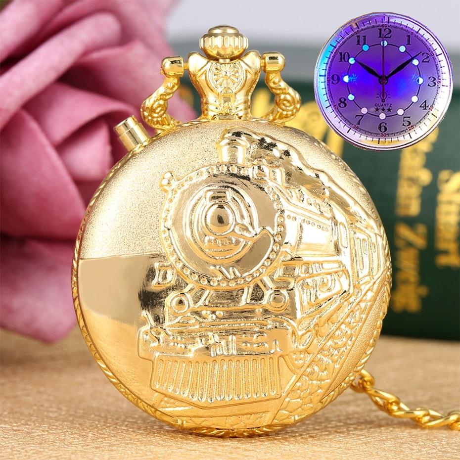 Luxury Gold Luminous LED Flash Quartz Pocket Watch Train Locomotive Engine Steampunk Quartz FOB Light Watch Gifts For Men Women