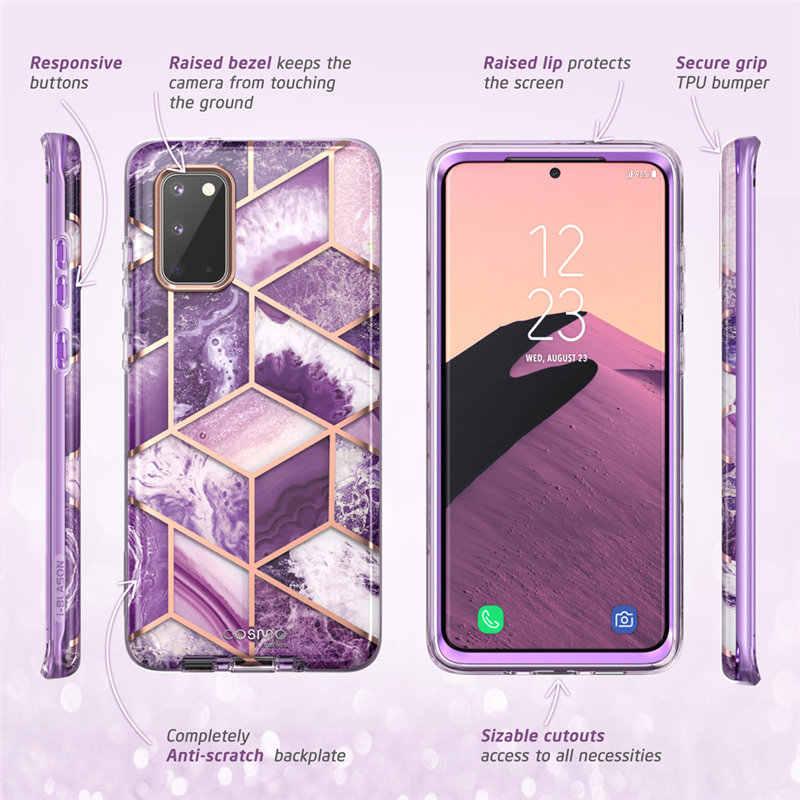 Samsung Galaxy S20 kılıfı/S20 5G durumda i-Blason Cosmo tam vücut Glitter mermer tampon kapak olmadan dahili ekran koruyucu