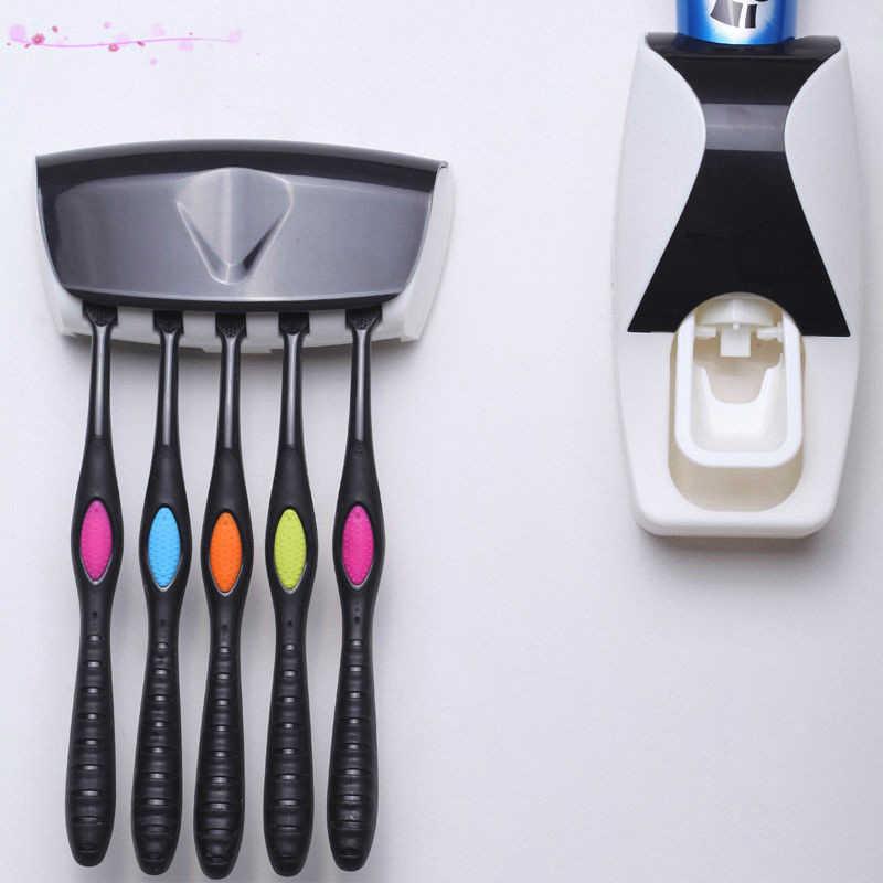 Fashion Home łazienka automatyczny dozownik pasty do zębów + 5 sztuk uchwyt na szczoteczki do zębów zestaw zestaw rodzinny wieszak montażu na ścianie wanna Oral