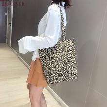 Płócienna torebka damska moda Leopard Print damska torba na ramię składana torba na zakupy torba plażowa damska torebka damska tanie tanio Transer Na co dzień torebka Torby na ramię Na ramię i torebki Na płótnie zipper SOFT Solidna torba Women s handbags