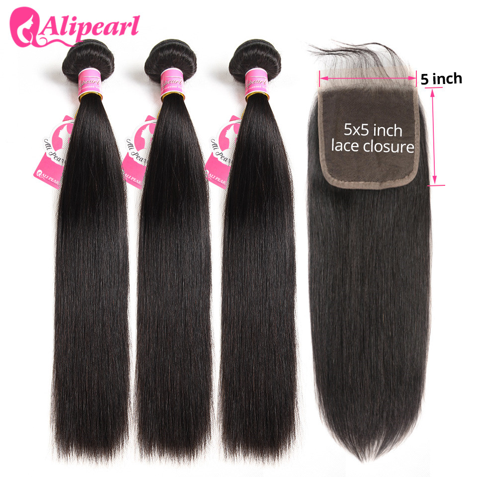 AliPearl Hair Straight Human Hair 3 Bundles With 5x5 Closure Brazilian Hair Weave Bundles Natural Color Remy Hair Extension