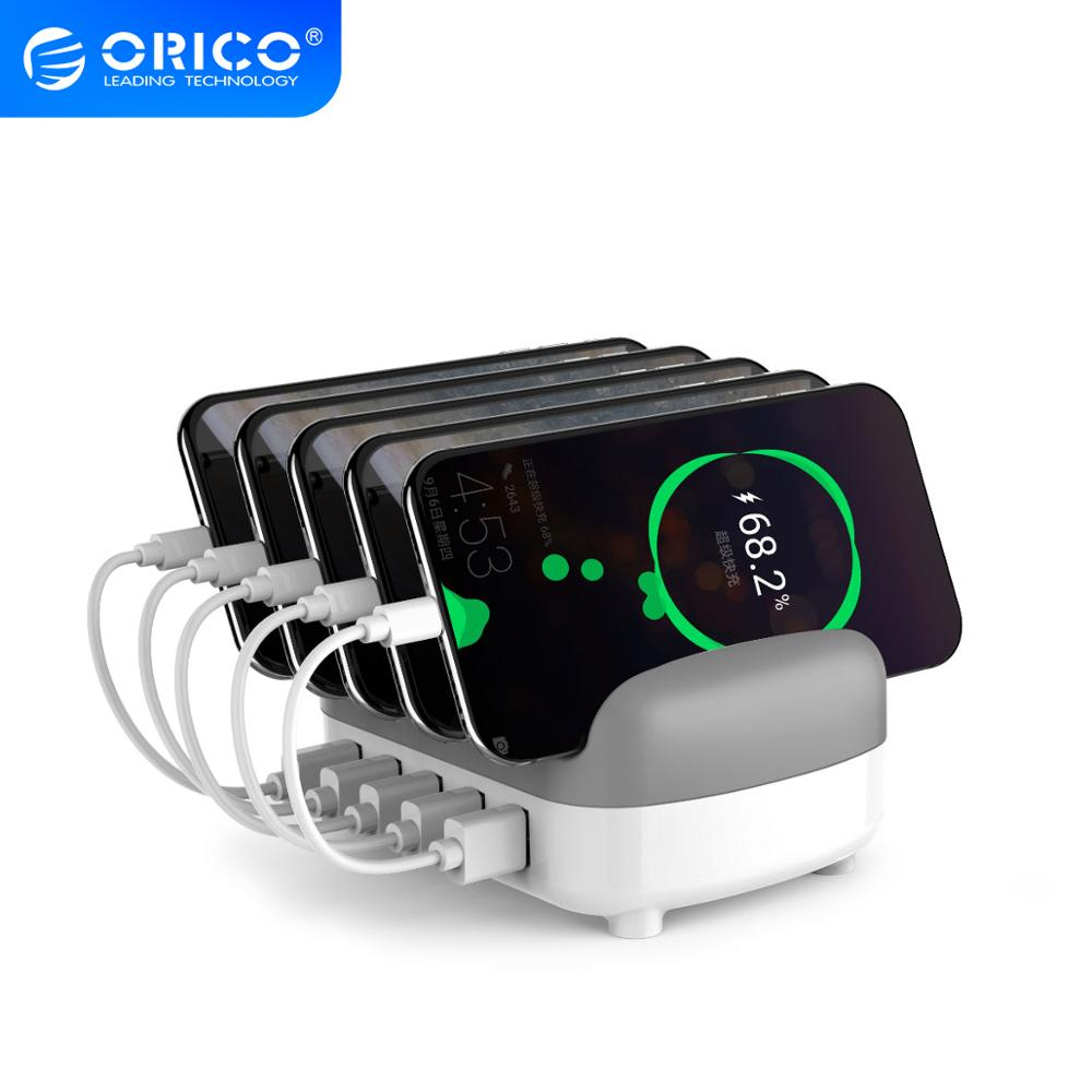 ORICO Charging Station 5 Ports 5V 2.4A 40W Desktop Smart Phone Tablet Charger with Stand for iPhone 11 pro Samsung Xiaomi