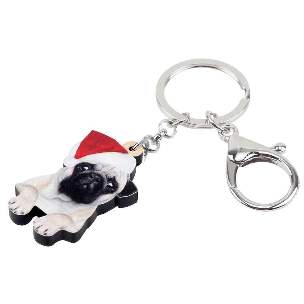 Bonsny Acrylic Giáng Sinh Bulldog Chó Pug Móc Chìa Khóa Móc Khóa Túi Xách Ví Xe Charm Móc Khóa Cho Cô Gái Tuổi Teen Nữ GIFT phụ kiện