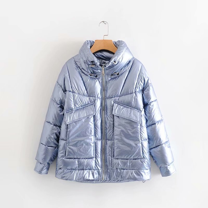 F7175-Korean-style WOMEN'S Wear 2019 Autumn & Winter New Style Stand Collar Large Pocket Bright Surface Cotton Overcoat Women's