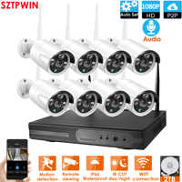 PlugandPlay 8CH 1080P Audio Wireless NVR Kit P2P1080P Indoor Outdoor Night Vision Security 2.0MPaudio IP Camera WIFI CCTV System