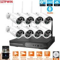PlugandPlay 8CH 1080P Audio Wireless NVR Kit P2P1080P Indoor Outdoor Night Vision Security 2.0MPaudio IP Camera WIFI CCTV System