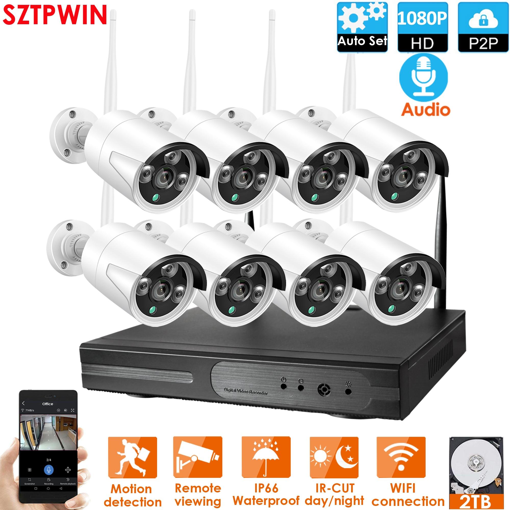 Plughplay 8CH 1080P Audio inalámbrico NVR Kit P2P1080P Interior Exterior visión nocturna seguridad 2,0 MPaudio IP Cámara WIFI sistema CCTV