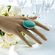 Большие размеры, плоские круглые овальные кольца с бирюзой, Самородки с минеральным камнем, открытые Регулируемые кольца для женщин, подарки, вечерние ювелирные изделия на свадьбу
