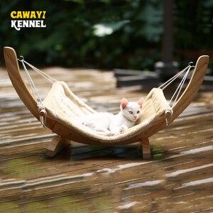 Image 1 - CAWAYI CANILE In Legno Pet Gatto Amaca Letto Nido per I Gatti Altalena per Piccoli Animali cama gatocama para productos para mascotas d1559