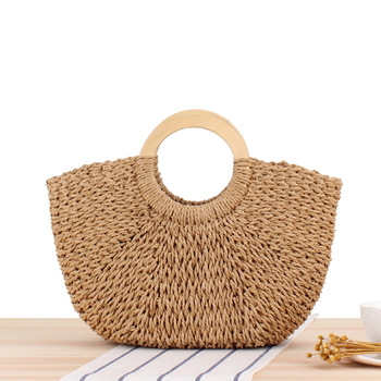Wooden Handles Carrying Straw Braided Paper Rope Hand-woven Beach Bag Mori Solid Color Large Capacity Female