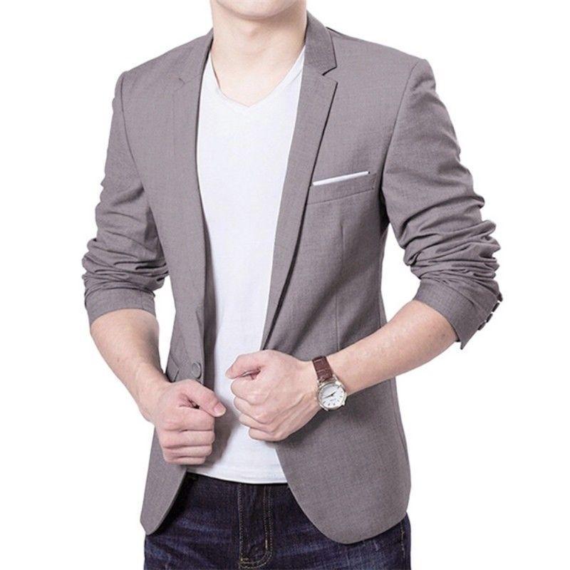 Hirigin 2019 New Korean Men Blazer Casual Slim Fit Office Suit Autumn Winter Jacket Coat Formal Masculina Blazer Men's Business