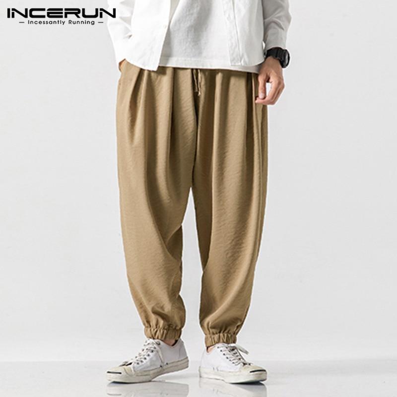 Men Casual Pants Joggers Solid Color Vintage Streetwear 2020 Drawstring Men Harem Pants Loose Chinese Style Pantalon 5XL INCERUN