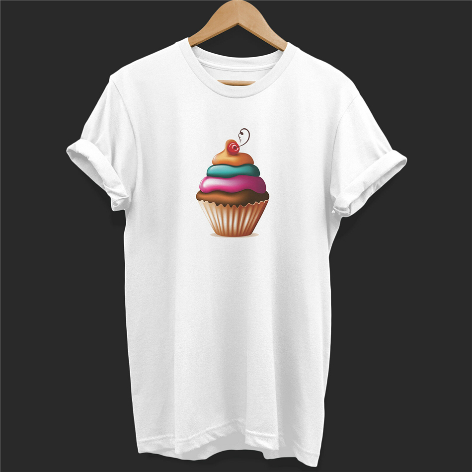 Womens Colourful Cupcake T Shirt Summer Baggy White Sweet Cake Chocolate Candy Leisure Comfortable Vogue Aesthetic Tee Shirt